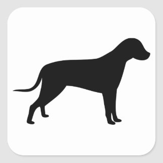 HundeSilhouette Quadratischer Aufkleber