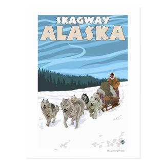 HundeSledding Szene - Skagway, Alaska Postkarte