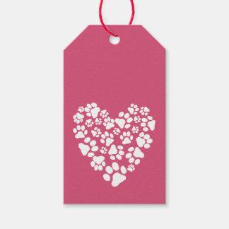Hundetatze druckt Valentinsgruß-Herz Geschenkanhänger