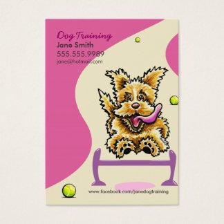 Hundetrainer, der aktives Terrier-Rosa ausbildet Visitenkarte