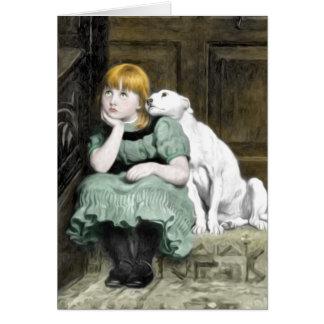 Hundeverehren Mädchen-viktorianische Malerei Karte