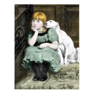Hundeverehren Mädchen-viktorianische Malerei Postkarte