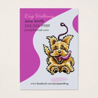 Hundewanderer-Haustier-Sorgfalt Leashed Terrier Visitenkarte