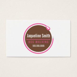 Hundewanderer-Leine-Schleifen-modernes Rosa Visitenkarte