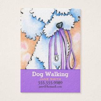 Hundewanderer-weißer Pudel lila Visitenkarte