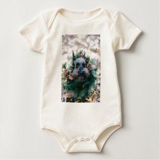 Hundewelpen-Haustier-Tier-Weihnachtsgrün-Girlande Baby Strampler