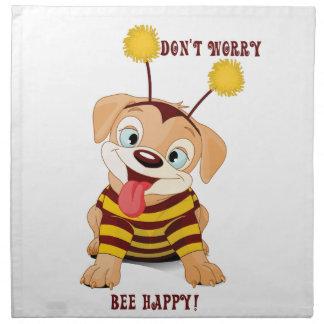 Hundewelpen-Liebhaber-Bienen sorgen sich nicht, Stoffserviette