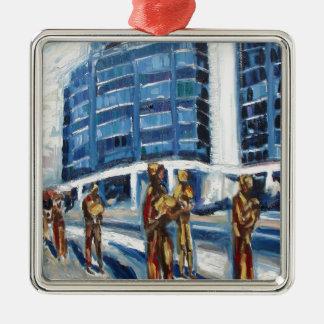 Hungerdenkmal Quadratisches Silberfarbenes Ornament
