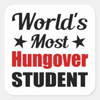 Hungover Studenten-lustiges Trinken der Welt der Quadratischer Aufkleber