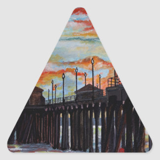 Huntington Beach Pier-Sonnenuntergang Dreieckiger Aufkleber