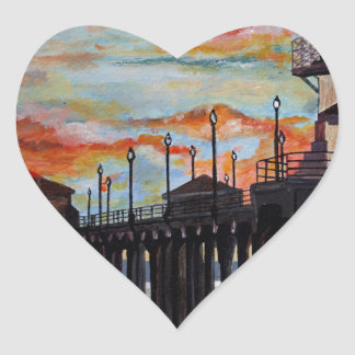Huntington Beach Pier-Sonnenuntergang Herz-Aufkleber