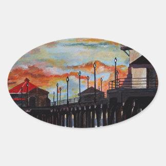 Huntington Beach Pier-Sonnenuntergang Ovaler Aufkleber
