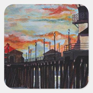Huntington Beach Pier-Sonnenuntergang Quadratischer Aufkleber