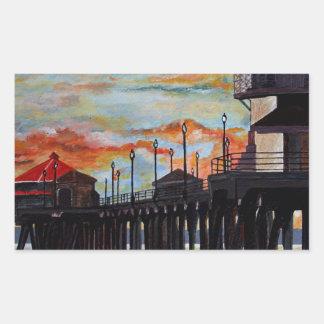 Huntington Beach Pier-Sonnenuntergang Rechteckiger Aufkleber