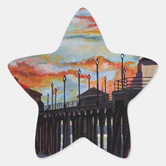Huntington Beach Pier-Sonnenuntergang Stern-Aufkleber