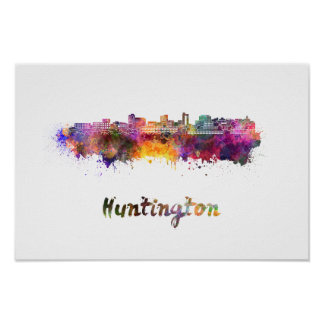 Huntington skyline im Watercolor Poster
