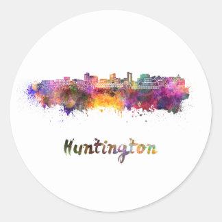 Huntington skyline im Watercolor Runder Aufkleber