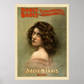 Hurly kräftiges Extravaganz-Vintages Plakat