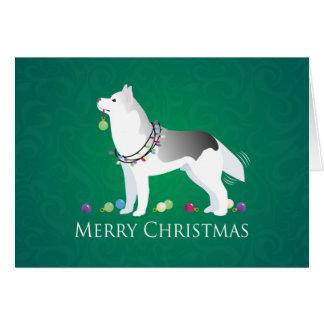 Husky-frohe Weihnacht-Entwurf Karte