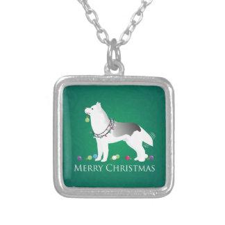 Husky-frohe Weihnacht-Entwurf Versilberte Kette