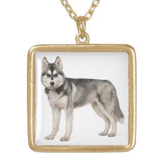 Husky-Hündchen-Halsketten-Anhänger Vergoldete Kette