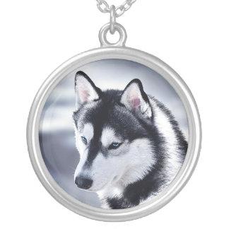 Husky-Hundeporträt Versilberte Kette