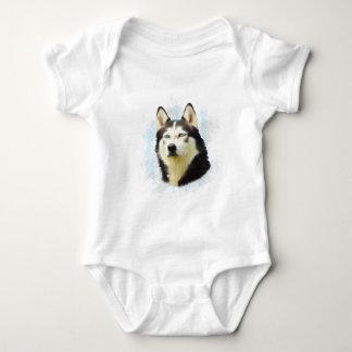 Husky-Hundewasser-Farbkunst-Malerei Baby Strampler