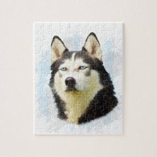Husky-Hundewasser-Farbkunst-Malerei Puzzle