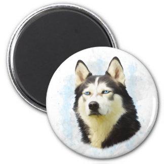 Husky-Hundewasser-Farbkunst-Malerei Runder Magnet 5,7 Cm