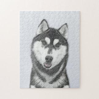 Husky-(Schwarzweiss) Malerei-Hundekunst Puzzle