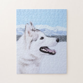 Husky-(Silber und Weiß) Malerei-Hundekunst Puzzle