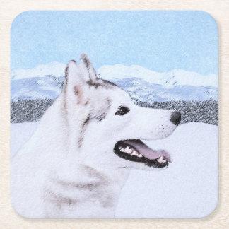 Husky-(Silber und Weiß) Malerei-Hundekunst Rechteckiger Pappuntersetzer