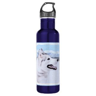 Husky-(Silber und Weiß) Malerei-Hundekunst Trinkflasche