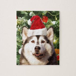 Husky-Weihnachtsbaum verziert Schneemann Puzzle