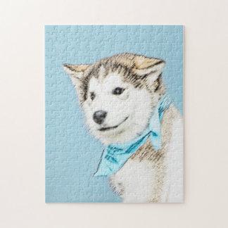 Husky-Welpen-Malerei - ursprüngliche Hundekunst Puzzle