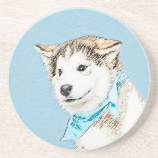 Husky-Welpen-Malerei - ursprüngliche Hundekunst Sandstein Untersetzer