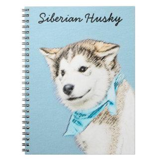 Husky-Welpen-Malerei - ursprüngliche Hundekunst Spiral Notizblock