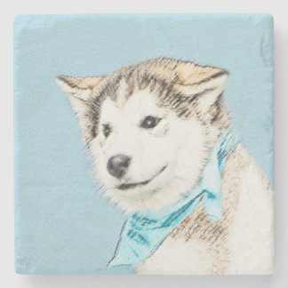 Husky-Welpen-Malerei - ursprüngliche Hundekunst Steinuntersetzer