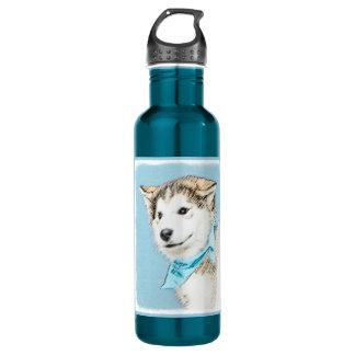Husky-Welpen-Malerei - ursprüngliche Hundekunst Trinkflasche