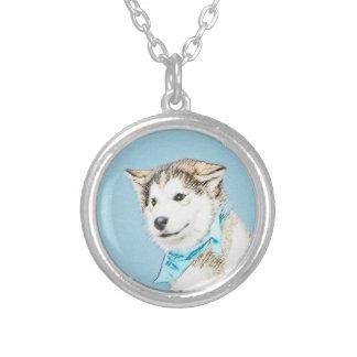Husky-Welpen-Malerei - ursprüngliche Hundekunst Versilberte Kette