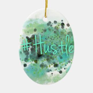 #Hustle grüner Watercolor-Spritzer-Entwurf Ovales Keramik Ornament