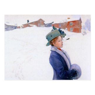 Hut-Feiertags-Winter Carl Larssons Lisbeth neuer Postkarte