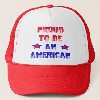 Hut-rote Masche stolz, ein Amerikaner zu sein Truckerkappe