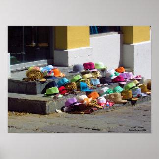 Hüte für Verkauf auf Straßen-Plakat Poster