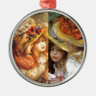 Hüte mit Blumen sind Meisterwerke in Renoirs Kunst Silbernes Ornament