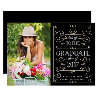 Hüte weg von der Abschluss-Party-Foto-Einladung 12,7 X 17,8 Cm Einladungskarte