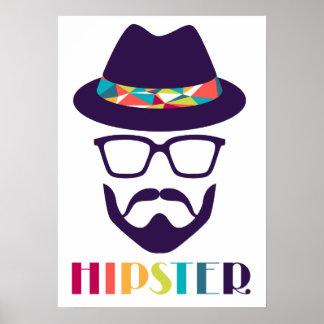 Hutglas-Spaßbart des coolen Hipsters cooler Poster