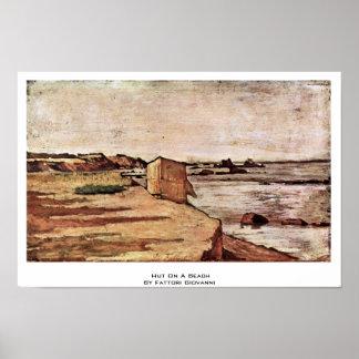 Hütte auf einem Strand durch Fattori Giovanni Poster