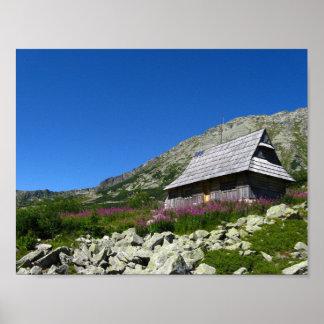 Hütte im fünf Teich-Tal, Tatras Plakat