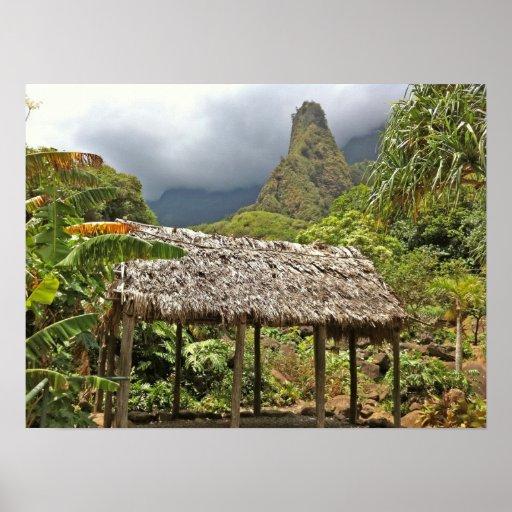 Hütte im Iao Tal-Staats-Park, Maui, Hawaii Plakatdruck